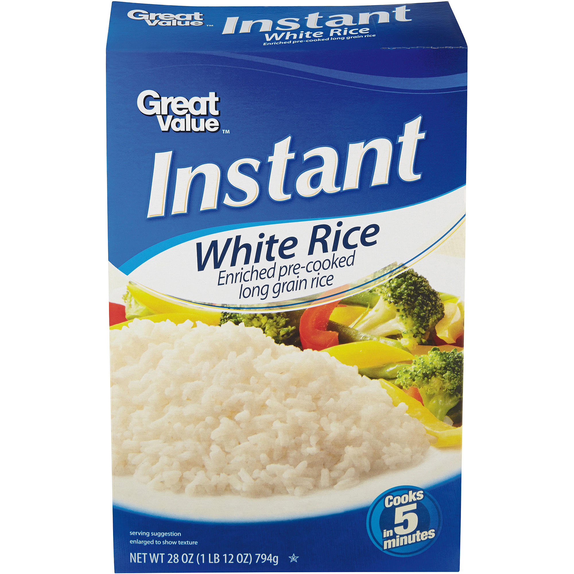 Great Value Instant White Rice, 28 oz