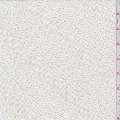 Ivory Diagonal Stripe Lace, Fabric By the Yard
