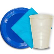 """50 Dark Blue Plastic Plates (9""""), 50 Ivory Plastic Cups (12 oz.), and 50 Aqua Paper Napkins, Dazzelling Colored Disposable Party Supplies Tableware Set for Fifty Guests."""