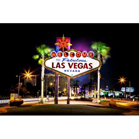 Laminated Poster Las Vegas Sign Night Skyline Nevada Usa Poster Print 24 x (Beatles Love Las Vegas 2 For $100)