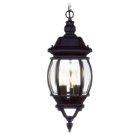 Outdoor Pendants 3 Light With Clear Beveled Glass Black size 9 in 180 Watts - World of Crystal