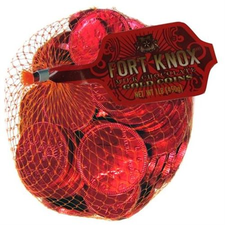 Fort Knox Milk Chocolate 1.5-inch Coins - Red Foil, 1 LB