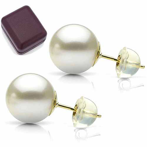 6-7mm White Perfect Round High-Luster Freshwater Pearl 14kt Yellow Gold Stud Earrings