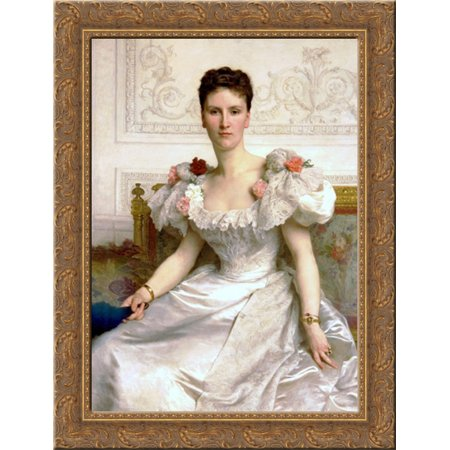 Madam the Countess of Cambaceres 20x24 Gold Ornate Wood Framed Canvas Art by Bouguereau, William Adolphe ()