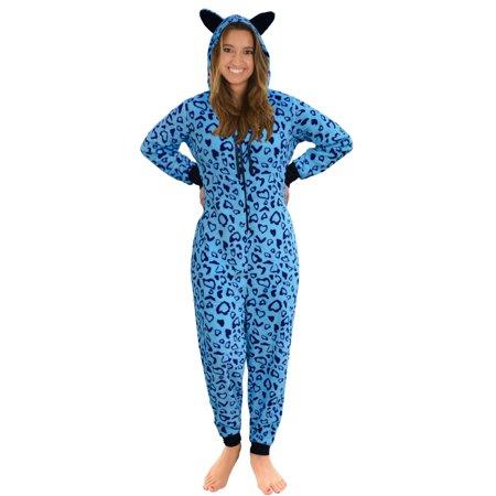 Womens Zip Up Onesie Pajamas Blue Heart Print 1 Piece ...