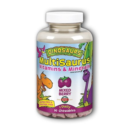 KAL Kid's MultiSaurus Vitamins & Minerals | Children's Chewable Once Daily Complete Multivitamin | Vit A, C, B & More | Gluten & Fructose Free | 90ct
