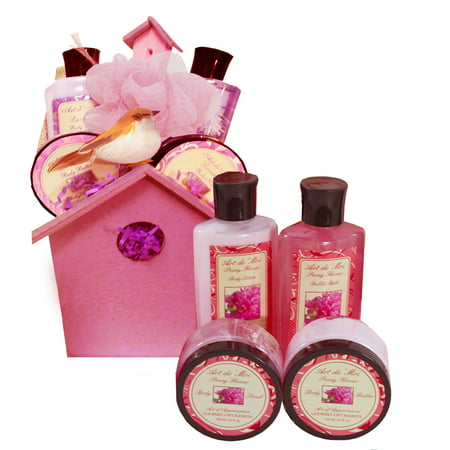 A Little Birdy Told Me Spa Bath and Body Set Gift Basket (Peony Flower Scent) 6 Piece Kit Great Idea for Moms, Sister, Girls and Women - Gift Ideas For 6 Year Old Girl