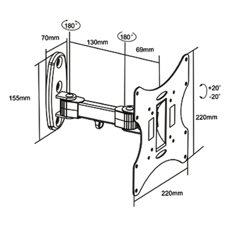 """GlobalTone Wall mount articulated arm Universal LED LCD PLASMA 17""""-37"""" - image 2 of 3"""