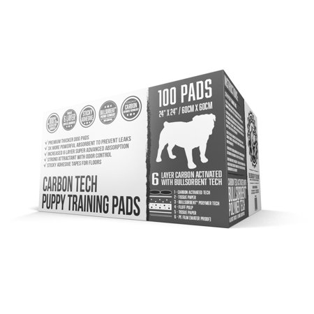 Bulldoglogy Premium Black Carbon Puppy Pee Pads with Adhesive Sticky Tape - Large Housebreaking Dog Training Wee Pads (24x24) 6 Layers with Extra Quick Dry Bullsorbent Polymer Tech