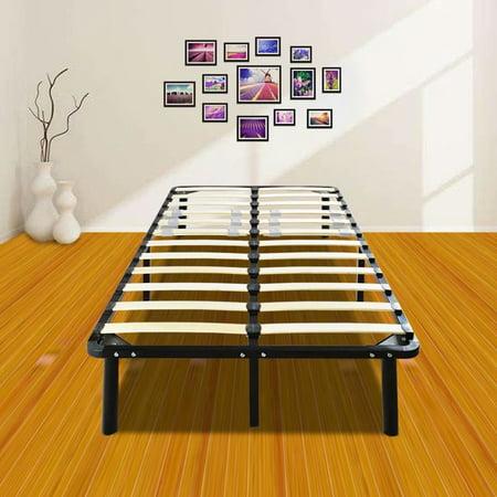 akoyovwerve wooden slat metal bed frame wood platform bedroom mattress foundation queen black. Black Bedroom Furniture Sets. Home Design Ideas