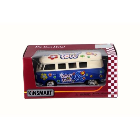 1962 Volkswagen Classical Bus, Blue - Kinsmart 5377FW - 1/32 Scale Diecast Model Toy Car ()