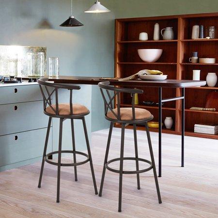 Furniture R Bar Stools Set of 2, Rotatable Back,Fabric Seat Metal Frame - image 7 of 8