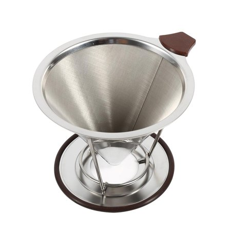 HERCHR 1x Portable 304 Stainless Steel Drip Dripper Double Layer Mesh Coffee Cone Filter Holder Infuse, Coffee Filter Holder, Cone Coffee Filter, Stainless Steel Coffee Filter