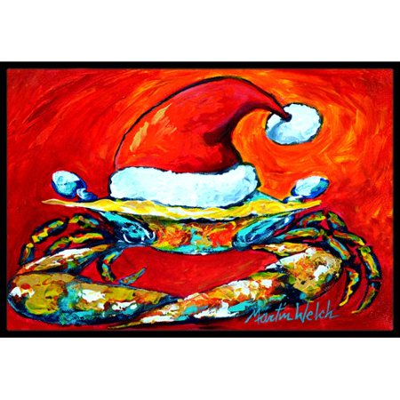 Caroline's Treasures Crab in Hat Santa Claws Doormat