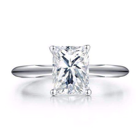 Solitaire Platinum Crystal (ON SALE - Elise 1.5CT Emerald Cut Solitaire IOBI Simulated Diamond Ring 5.75 /)
