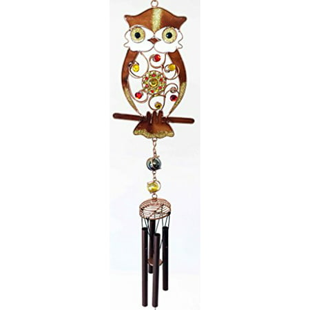 Owl Wind Chimes (Woodland Gem Owl Resonant Relaxing Black Coated Copper Wind Chime Garden)