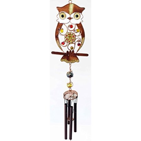 Woodland Gem Owl Resonant Relaxing Black Coated Copper Wind Chime Garden Patio](Owl Wind Chimes)