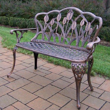 Oakland Living Tulip Cast Aluminum 44 in. Outdoor Bench - Antique Bronze ()