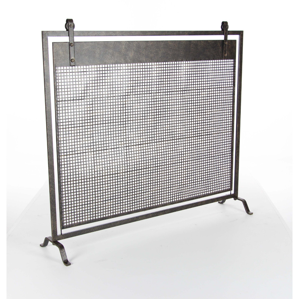 Enticing Metal Fireplace Screen, Black by Benzara