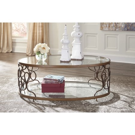 Ashley Furniture Fraloni Bronze Finish Oval Metal Coffee Table With - Ashley furniture oval coffee table