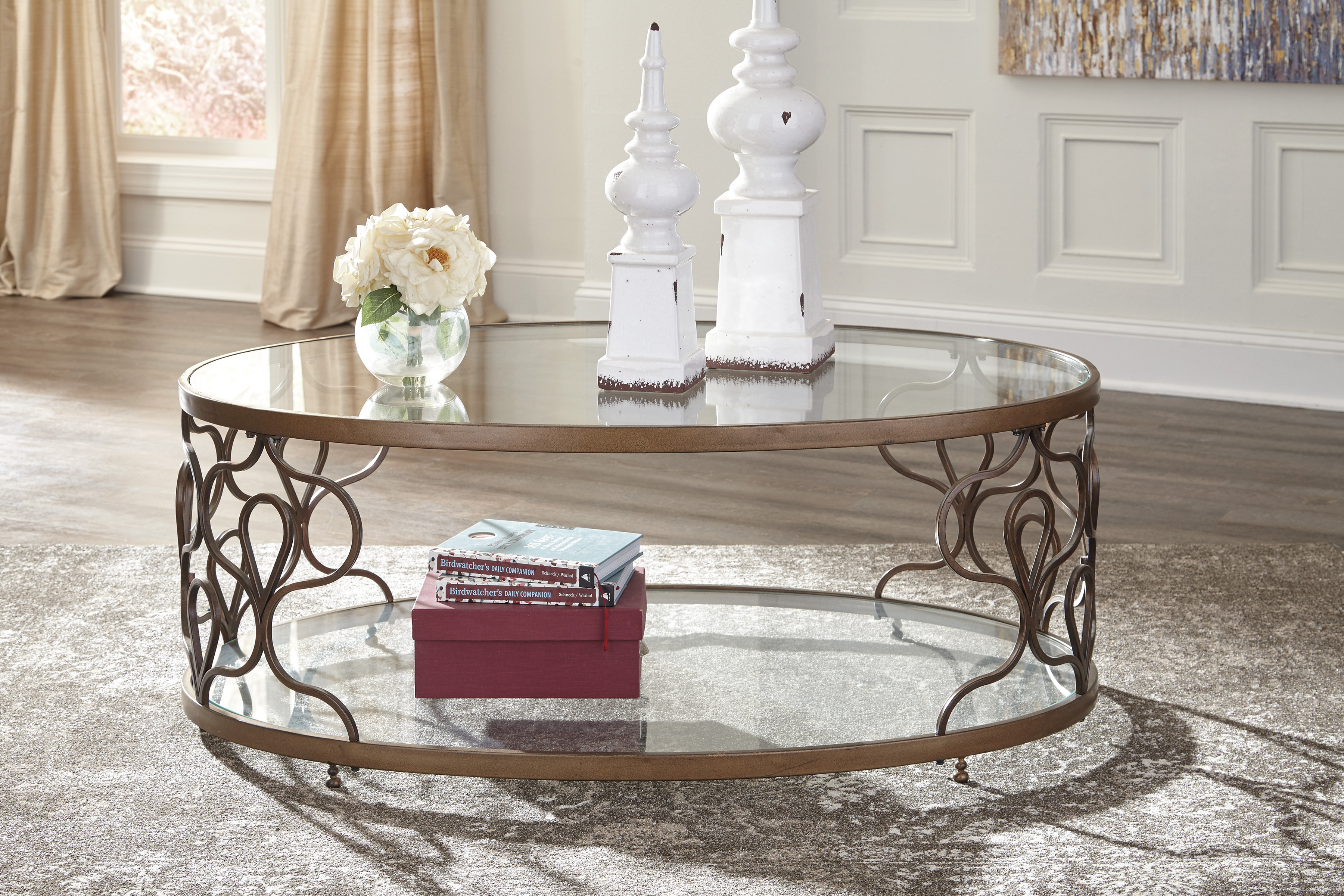 Ashley Furniture Fraloni Bronze Finish Oval Metal Coffee Table With Glass  Top