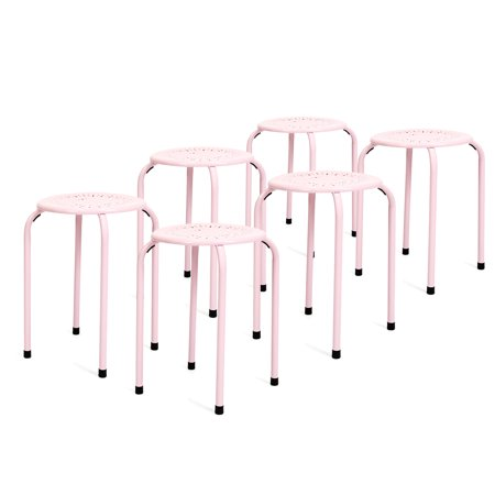 Best Choice Products 6-Pack Backless Round Top Metal Stools (Pink)