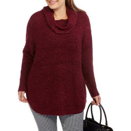 Faded Glory Women's Plus Boucle Cowl Neck Sweater - Walmart.com