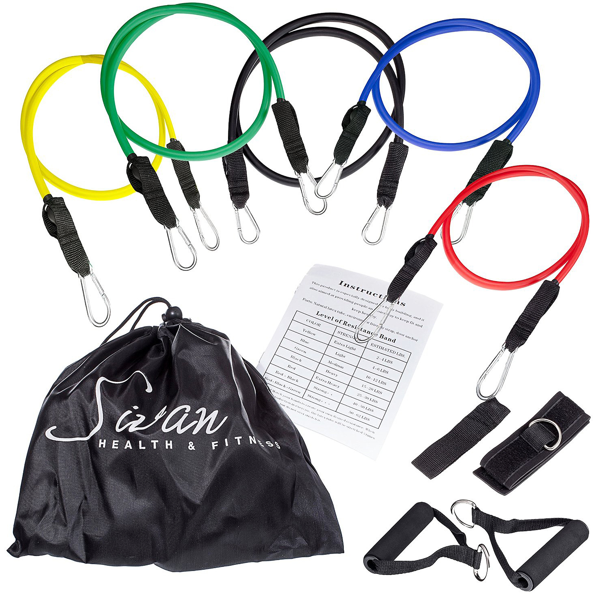 Sivan Latex Resistance Band Set with Carrying Case and Exercise Chart