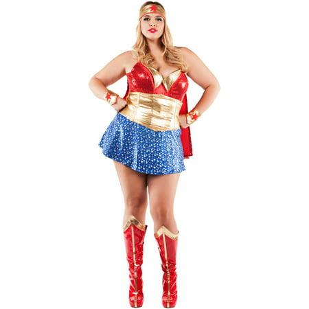 Womens Plus Size Wonder Lady (Women's Plus Size Little Red Costumes)