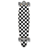 Yocaher Kicktail Longboard Complete - Checker White