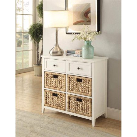28 x 13 x 30 in. Flavius Console Table with 6 Drawers, White