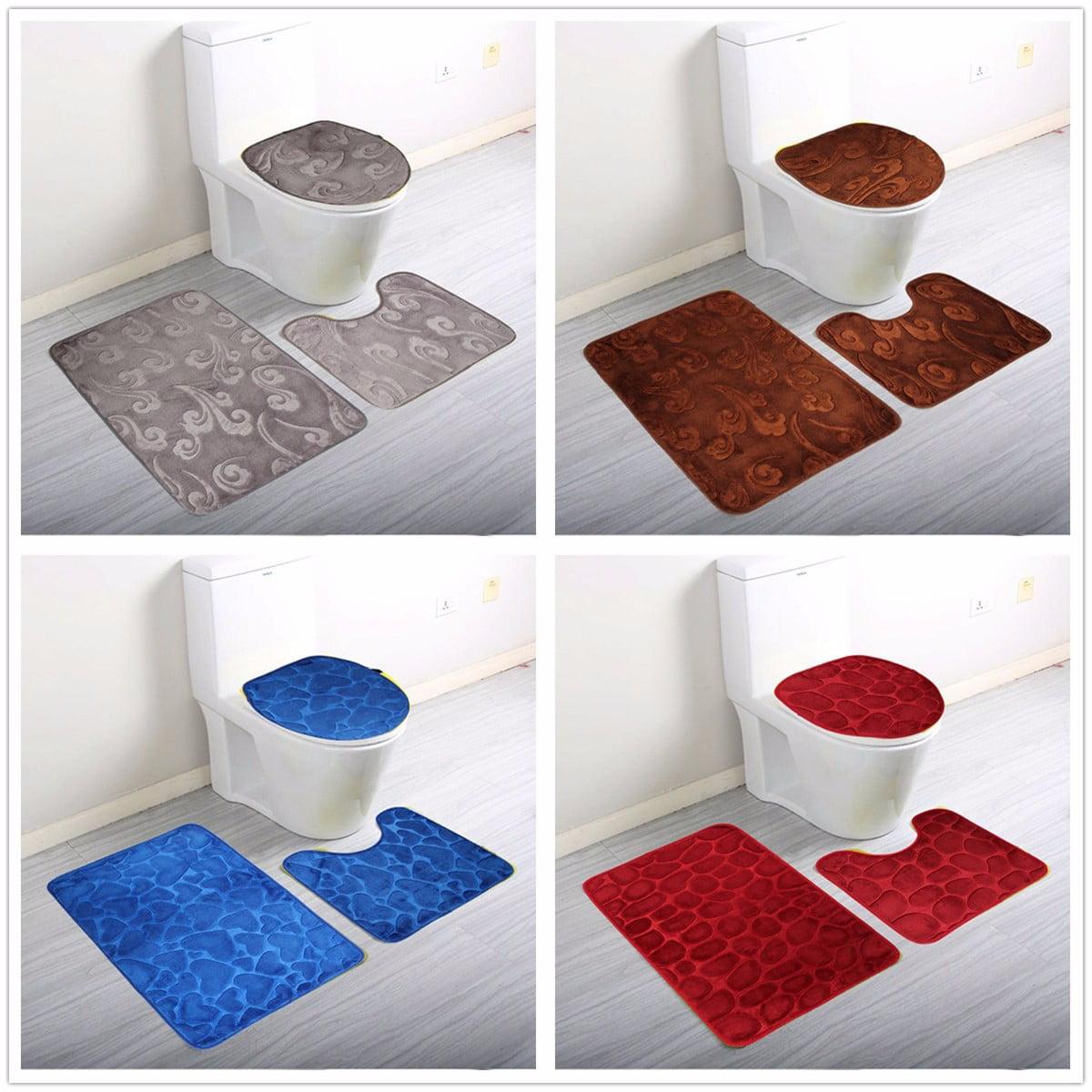 100/% Cotton 2 Piece Bath Mat /& Pedestal Mat Bathroom Toilet Set Graduated stripe