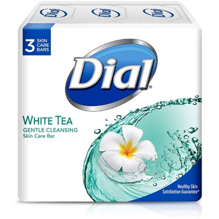 Dial Gentle Cleansing Bar Soap, White Tea , 4 oz bars, 3 ea (Pack of (Bright White Dial)