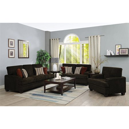 Coaster Griffin 3 Piece Sofa Set in Brown