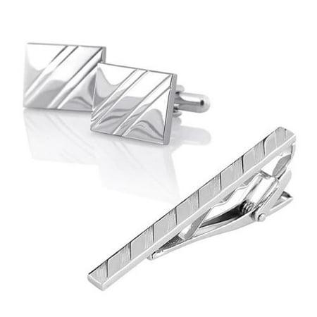 - Men Necktie Clip Clasp Cufflinks Set Silver Simple Gift