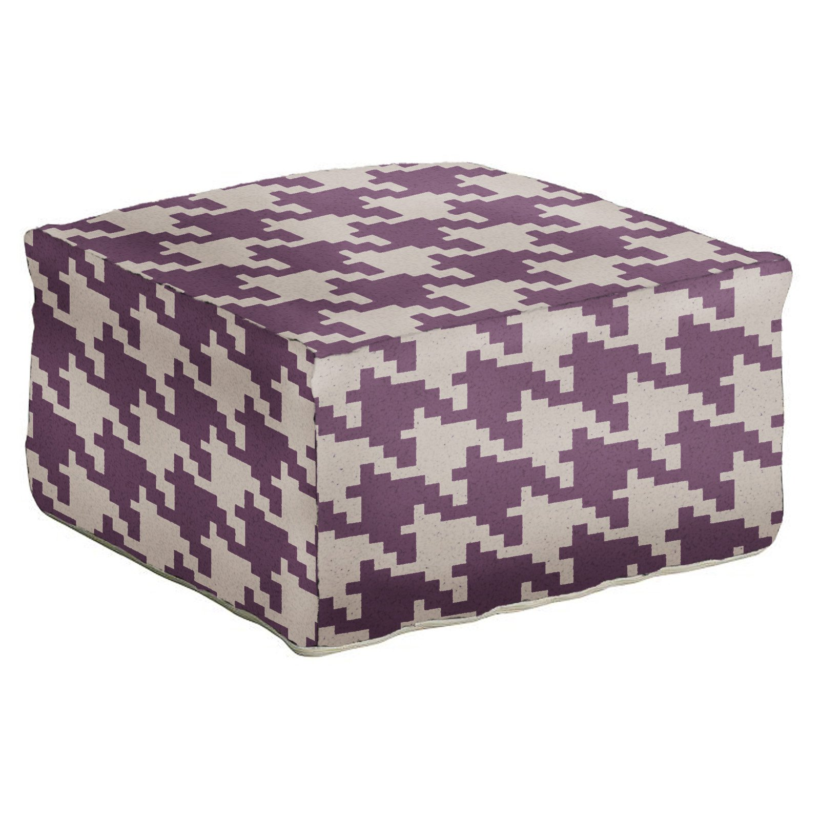 Surya 24 in. Houndstooth Square Wool Pouf