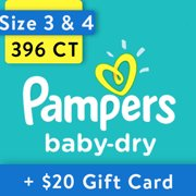 [Save $20] Size 3 & Size 4 Pampers Baby-Dry Diapers, 396 Total Diapers