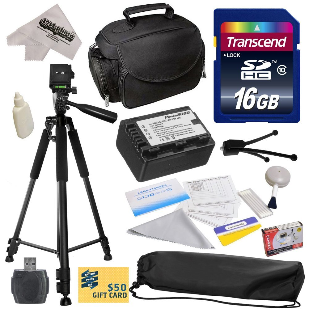 Best Value Kit for Panasonic HC-V700, HC-V700M, HC-V500, HC-V500M, HC-V100, HC-V100M, HC-V10 Camcorder with... by Opteka