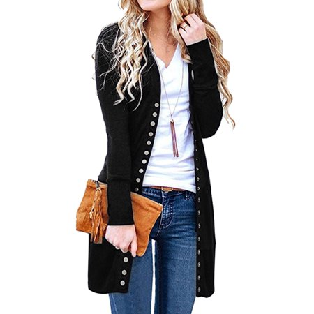 - Starvnc Women Button Down Long Sleeves Solid Color Slim Fit Mid-length Cardigan