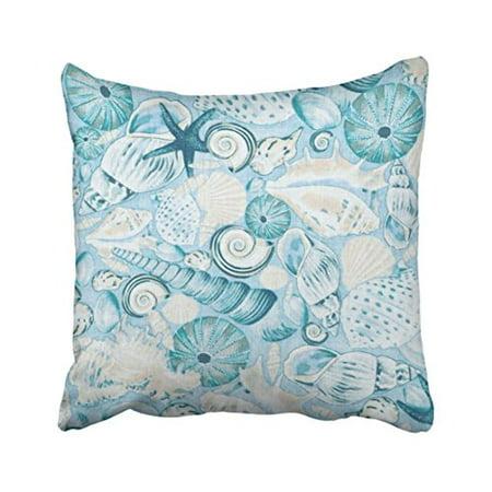 WinHome Square Throw Pillow Covers Vintage Nautical Coastal Blue Sea Shells Print Pillowcases Polyester 18 X 18 Inch With Hidden Zipper Home Sofa Cushion Decorative