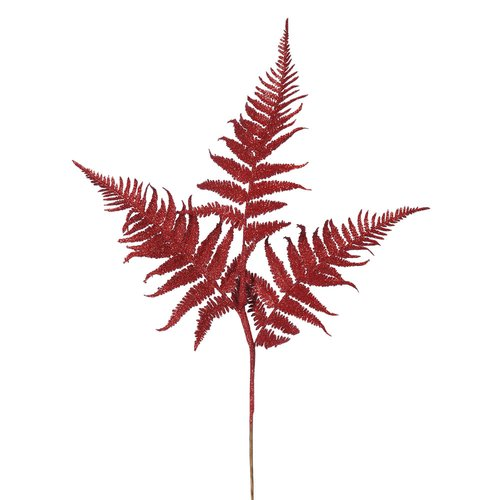 The Holiday Aisle 6 Piece Onoclea Glitter Fern Branch (Set of 6)