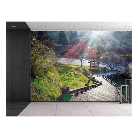 wall26 - Stairway Going Down a Hill to a Kiosk with Pink Cherry Blossom Trees - Wall Mural, Removable Sticker, Home Decor - 66x96