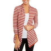 Women's Long Sleeve Striped Hacci 2-Fer Cardigan