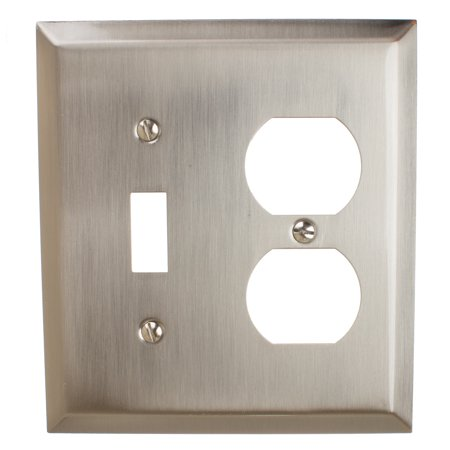 GlideRite Hardware Light Switch and Duplex Outlet 2-Gang Beveled Edge Combination Wall Plate Cover, Brushed Nickel - Lightswitch Cover