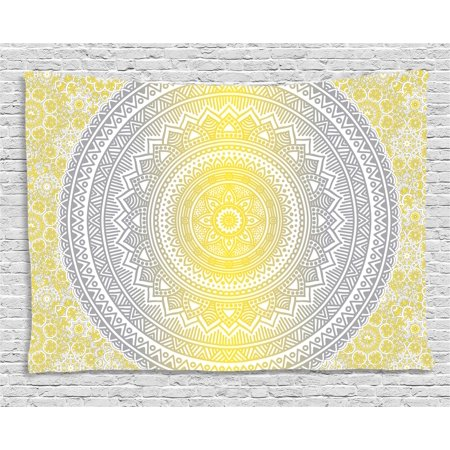 Grey and Yellow Tapestry, Soft Pastel Color Ombre Ethnic Indian Mandala Circular Art Medallion Print, Wall Hanging for Bedroom Living Room Dorm Decor, 80W X 60L Inches, Grey Yellow, by Ambesonne - Print Mandala