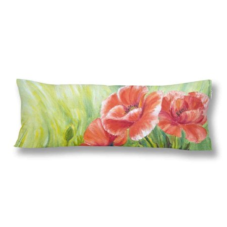 GCKG Poppies Oil Painting Body Pillow Covers Case Protector 20x60 inches - image 2 de 2