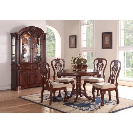 Formal Traditional Dining Room 5pc Set Cherry Wood Finish Round Dining  Table Set Accent Floral Pattern Chairs Crream Cushion 4 Side Chairs