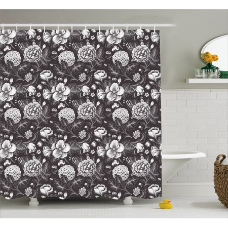 Grey and White Shower Curtain, Flourishing Blossoms Artistic Florets Bridal Bouquet Anniversary Theme, Fabric Bathroom Set with Hooks, 69W X 75L Inches Long, Dark Taupe White, by Ambesonne