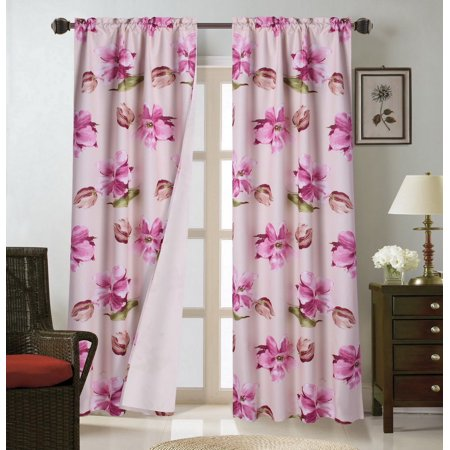WARDA-4 Pink Magnolia  2pc Printed Blackout Room Darkening Window Curtain Treatment Set, Two (2) Rod Pocket Panels 37