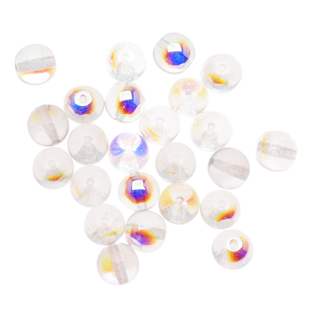 Czech Glass Druk Round Beads 8mm Crystal AB (25)